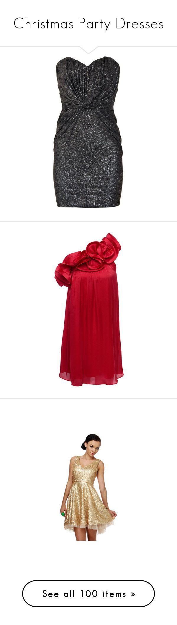 """Christmas Party Dresses"" by catt-perry ❤ liked on Polyvore featuring dresses, vestidos, vestiti, short dresses, women, mini dress, twist front dress, short glitter dresses, glitter mini dress and sparkly mini dress"