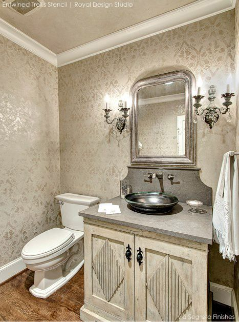 Painted in Similar Tones and Finishes Stencils Make for Elegant Décor-love this look!