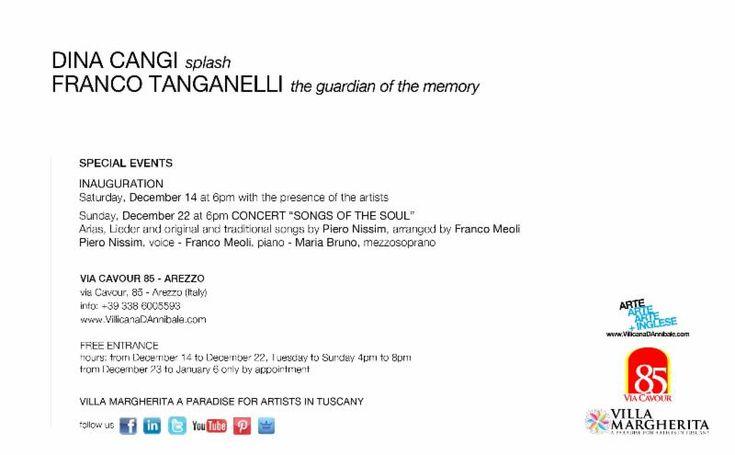 VERNISSAGE SABATO 14 DICEMBRE ORE 18:00 - SPLASH di DINA CANGI e IL GUARDIANO DELLA MEMORIA di FRANCO TANGANELLI    INAUGURATION SATURDAY, DECEMBER 14 AT 6:00PM - SPLASH by DINA CANGI and THE GUARDIAN OF THE MEMORY by FRANCO TANGANELLI