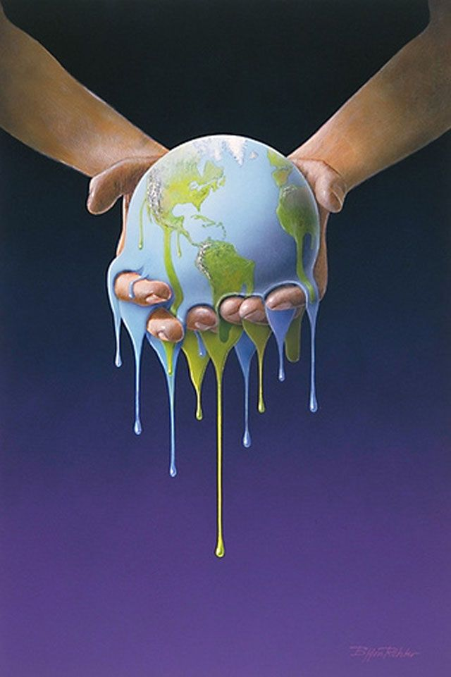 Melting Earth illustration by Bjørn Richter