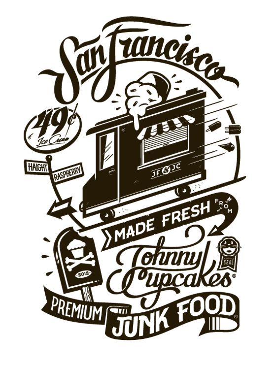 design for the San Francisco stop on the Johnny Cupcakes x Junk Food Tastemakers Tour. I took an element from the old Golden State Warriors jersey and incorporated some custom typography to tie it all together.