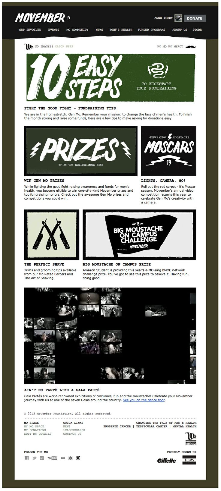 """Movember embedded a video clip with scenes from Movember Gala parties directly into this email campaign (above """"Ain't No Parté Like a Gala Parté""""). The video plays directly in the email, without the need to open in an external browser or media player. #emailmarketing #video #movember: Movember, External Browser, Gala Parties, Emailmarketing Video, Gala Parté, Email Inspiration"""