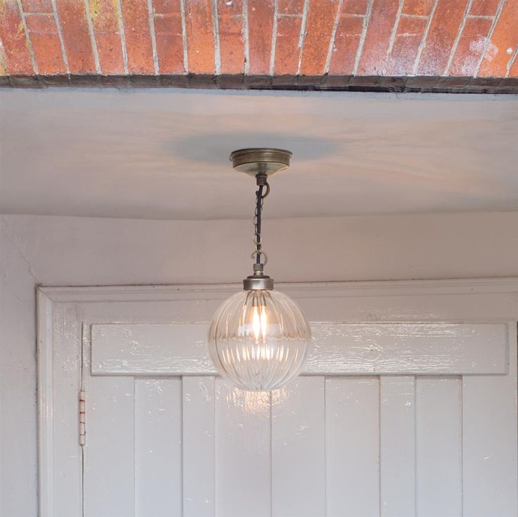 Fulbourn Porch Pendant Light in Antiqued Brass