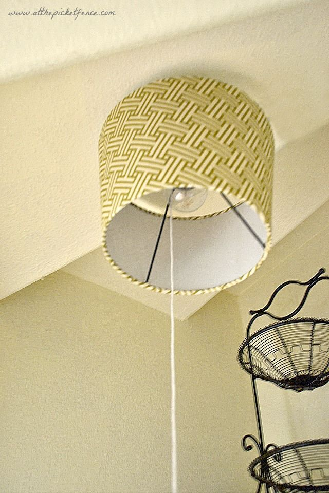 Custom Shade Over Bare Bulb By @At The Picket Fence