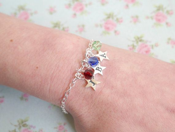 Three Initial Bracelet Personalised Star Bracelet by EllisAndPip
