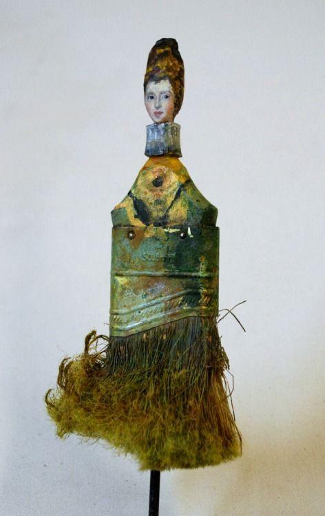Sculptures de vieux pinceaux en portrait de femmes sculptures de vieux pinceaux en portraits de femmes par rebecca szeto 4