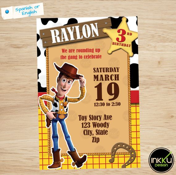 Toy Story Invite Woody invitation Toy Story por InkkuDesign en Etsy
