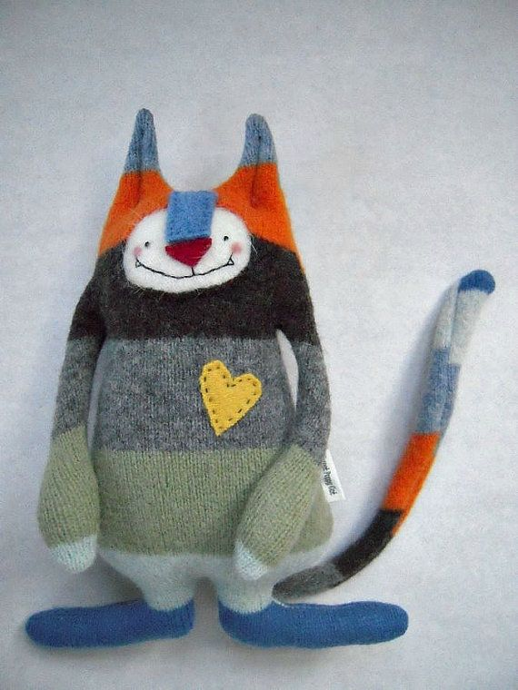 Stuffed Animal Cat - upcycled with Striped Wool Sweater