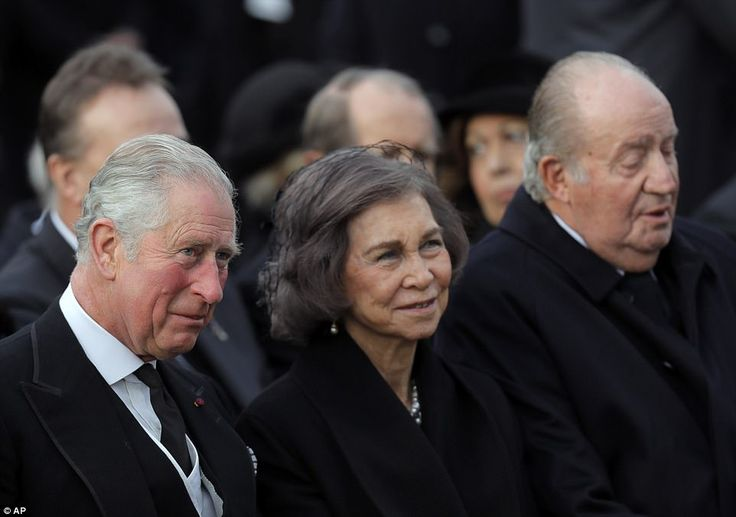 Prince Charles, left, former Spanish royals, Queen Sofia, center, and King Juan Carlos I attend the funeral ceremony