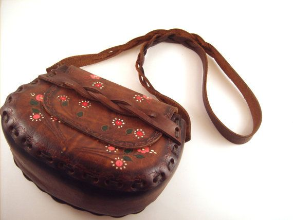 Tooled Leather Purse Vintage Hippies 1960s/70s by VeryUsVintage