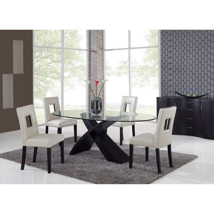 Global Furniture Exclaim 5 Piece Oval Glass Dining Set Beige Chairs With Its Stylized X Shaped Base The Global Furniture Exclaim 5 Pc