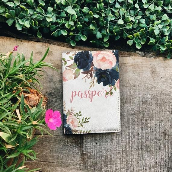 Porta pasaporte de flores de colores funda de viaje de cuero ecológico rosas ro…
