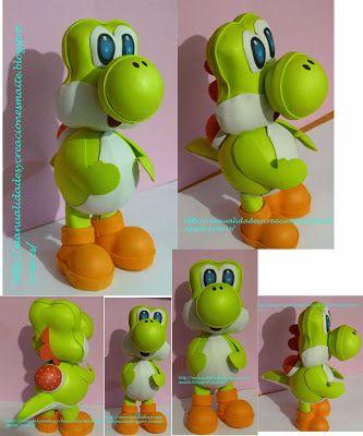 FOFUCHAS. Manualidades y Creaciones Maite: Fofucho Yoshi, de Mario Bros