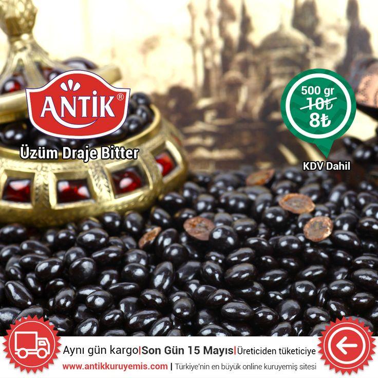 Üzüm draje bitter 500 gr KDV dahil sadece 8 TL http://www.antikkuruyemis.com/Uzum-Draje-Bitter-500-gr-,PR-143.html