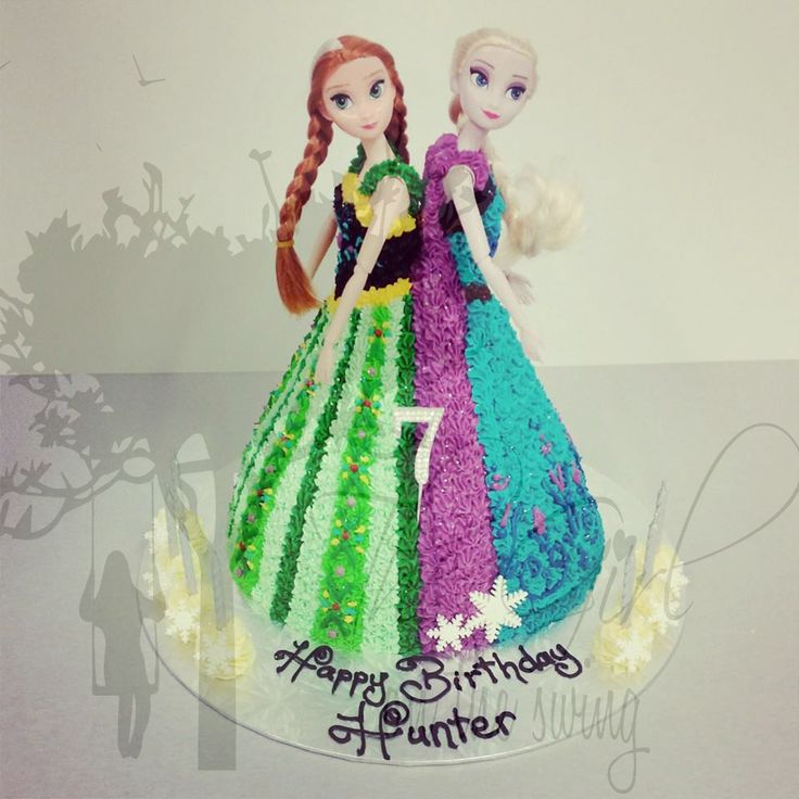 Two Doll Frozen Cake with Coronation Dresses