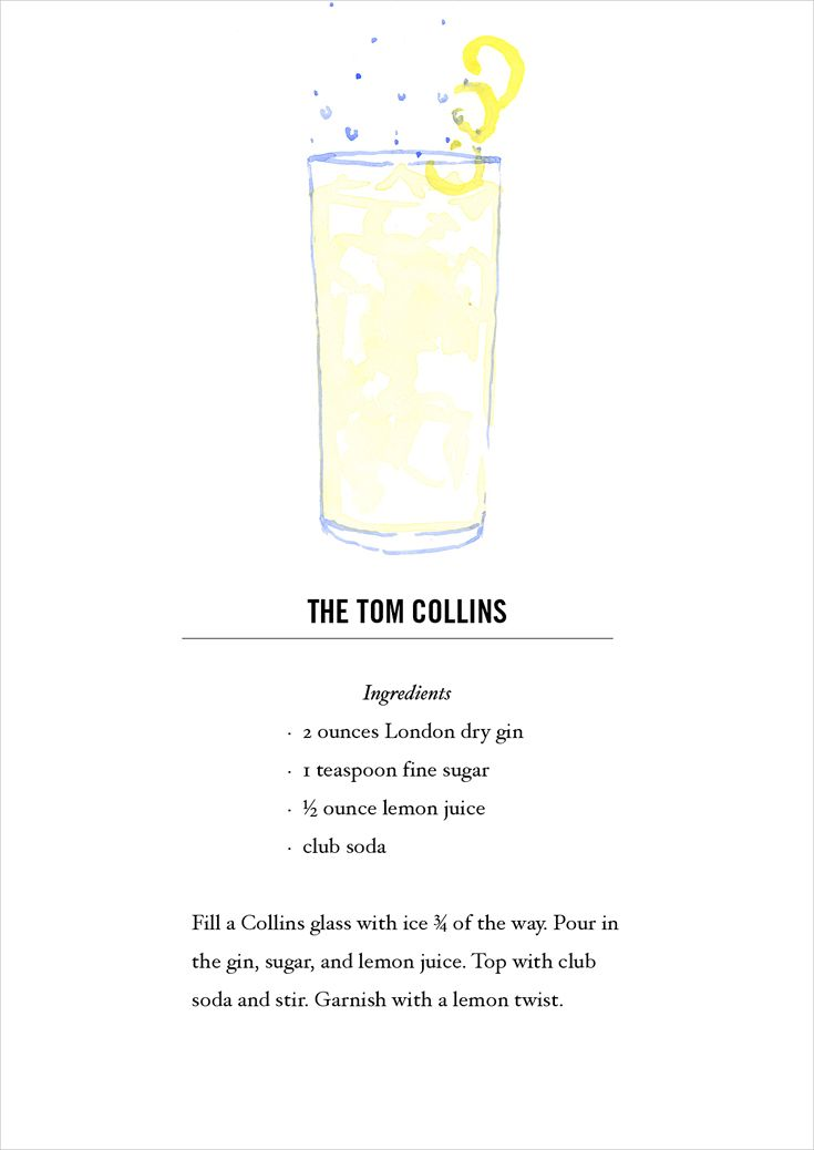 Tom Collins Cocktail Recipe Card. Buy all 12 here: https://www.etsy.com/listing/118013624/classic-cocktail-recipe-cards-12