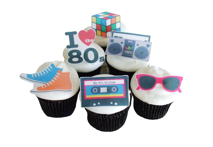 80s THEME PARTY  12 Edible Cupcake Toppers  by incrEDIBLEtoppers