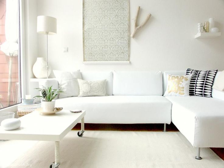 Wonderful Design Small Living Room With White Interior And - all white living room