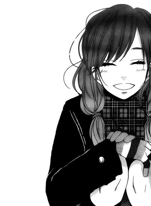 Anime girl black white anime