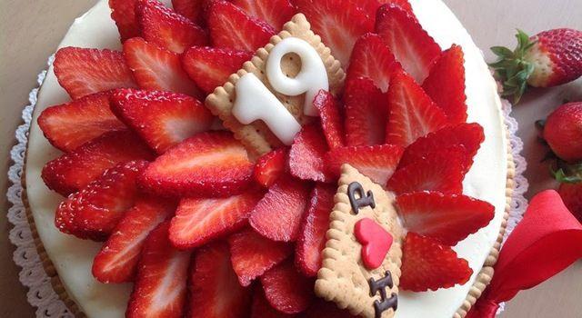 Vanilkový dort s jahodami
