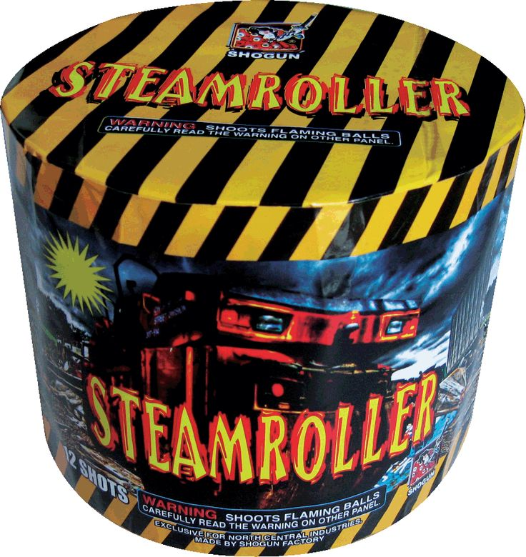 Steamroller 12 Shot - North Central Industries - www.greatgrizzly.com - MUNCIE INDIANA WHOLESALE FIREWORKS •Category: Aerial Repeaters •Item Number: 1823 •Package Contents: 12 •Dimensions: 6 x 6 x 5 •Weight: 29lbs Brand Name: NCI Exclusive Shogun  DESCRIPTION: Green, blue, red, white, gold, silver Glittering mines, flying fish, rising tails, silk tails, big timed rain, shimmering crackle. Duration 20 sec avg