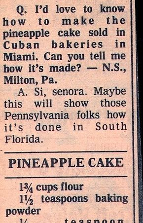 Recipe: Cuban Bakery-Style Pineapple Cake with Pineapple Filling (cooked filling, 1980's) - Recipelink.com