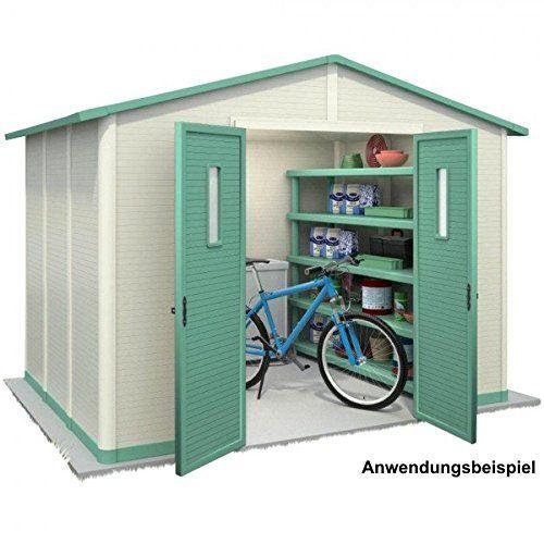 Gerätehaus 288x217cm 6,25m² weiß Kunststoff Geräteschuppen Kunststoffgerätehaus