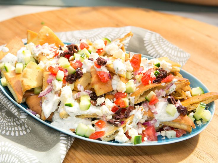 Greek Pita Nachos recipe from The Kitchen via Food Network,  Recipe courtesy of Kelsey Nixon, Show: The Kitchen, Episode: Must-Have Meals