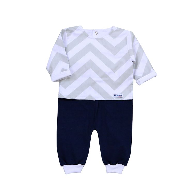 Conjunto Pagão para Bebê 3 Peças Estampado Brooklyn Chevron Marinho - Biramar - Baby Enxoval - BabyEnxoval