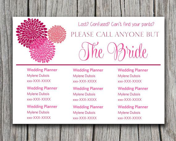 Chrysanthemum Please Call Anyone But the Bride | Fuchsia Hot Pink | Microsoft Word Wedding Insert Information Card Template Contact Card by PaintTheDayDesigns, $8.00