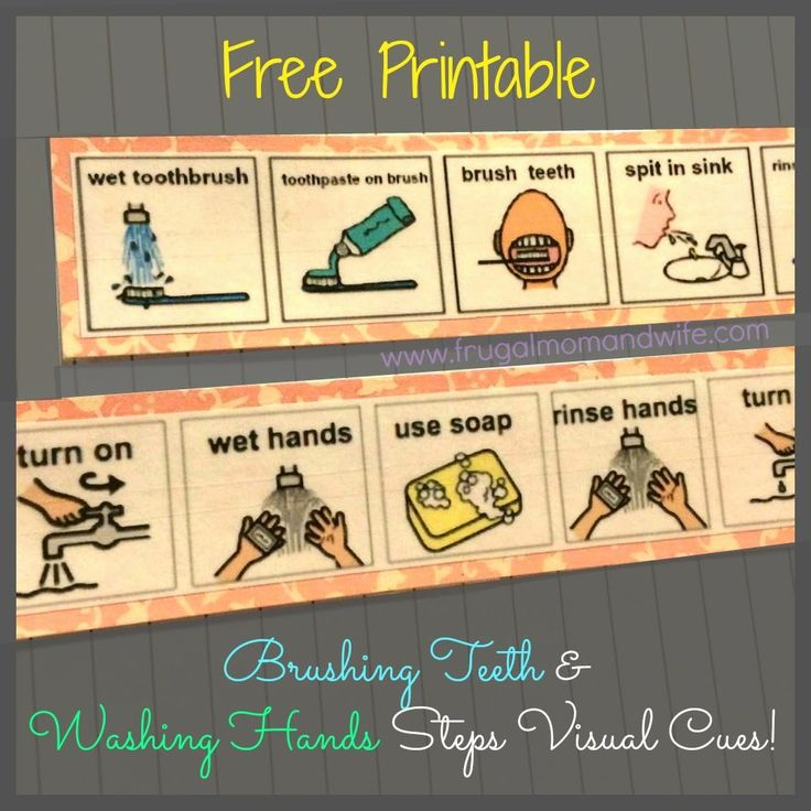 Frugal Mom and Wife: FREE Printable Brushing Teeth & Washing Hands Steps Visual Cues!