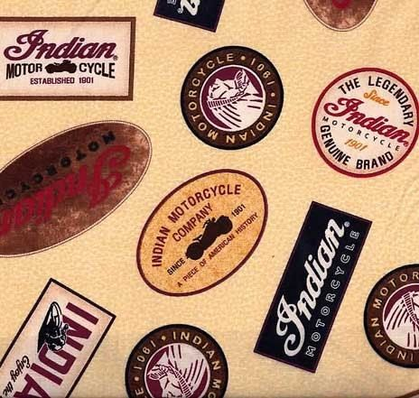 Quilting Treasures - Indian Motorcycles - Tan Patches - Cotton Woven Fabric