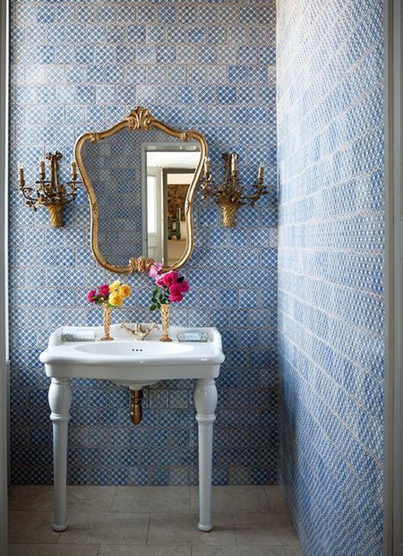 Beautiful Blue-Tiled Bathroom | photo Paul Raeside | House & Home