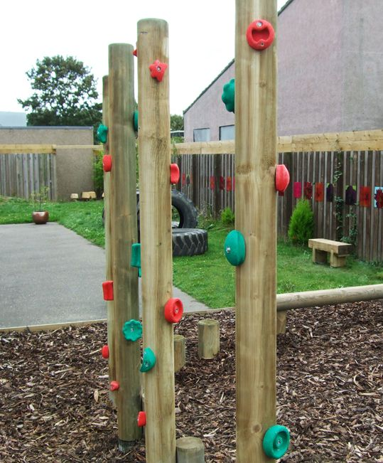 Climbing Hold Stilts--I bet my husband could make something like this for our backyard...