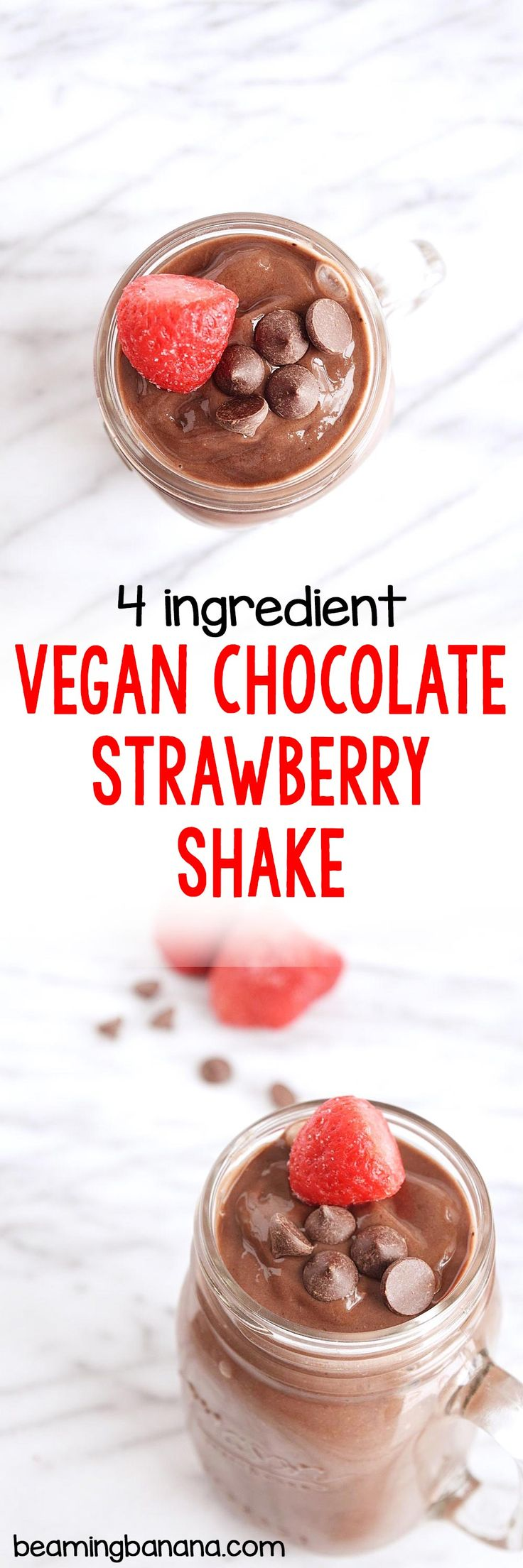 This vegan chocolate strawberry shake is so thick and creamy, and the perfect combination of rich chocolate and sweet strawberry flavor! Made with just 3 ingredients.