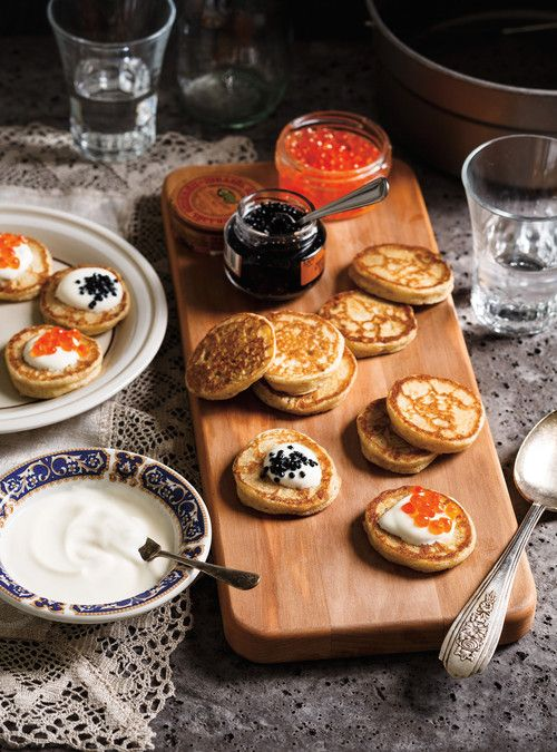 Blinis with creme fraiche & caviar