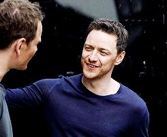 """yoursmcavoy: """" McAvoy & Fassbender """"and yet, I just love the guy. """" """""""