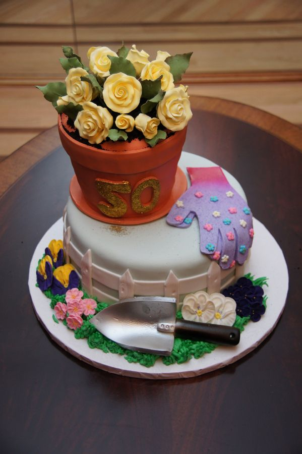 Flower Pots Birthday Cakes | Garden theme flower pot cake — Birthday Cakes