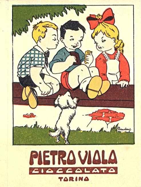 pubblicità cioccolato ditta Pietro Viola - prodotti alimentari delle industrie piemontesi - 1900-1950