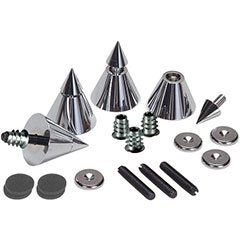 """Dayton Audio DSS4-CH Chrome Speaker Spike Set 4 Pcs. by Dayton. $29.70. By rigidly coupling a loudspeaker enclosure to a floor by means of a """"spiking"""" system, it is possible to dramatically improve clarity, stereo imaging and bass response.  This is very apparent with subwoofer systems."""