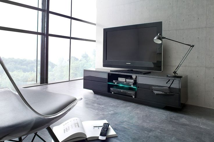 Modern Apartement Living Room Designs With SWING TV stand / High gloss Black finish with Black Glass top panel / Modern TV cabinet with RGB LED lighting system  – The new Swing is a stylish high gloss Black TV stand with four drawers and LED Illuminated shelf made of 4 mm Thick Toughened...