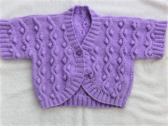 Trendy Girls Short Sleeved Cabled Bolero Hand Knitted in Aran
