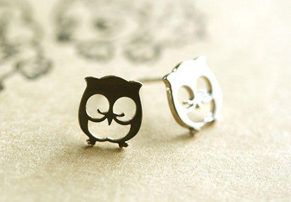 sterling silver owl earrings by hueydewey on Etsy, $25.00