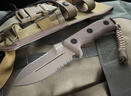 Microtech Crosshair Desert Tan Serrated Tactical Fixed Blade Knife