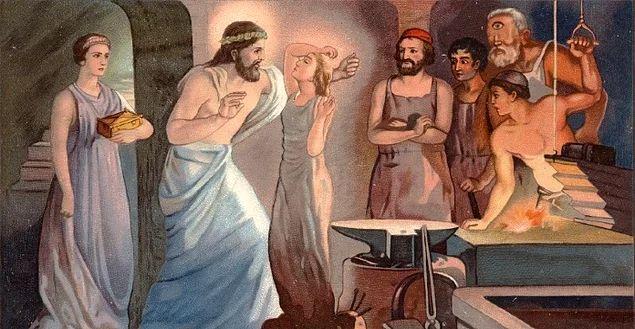 Hephaistos, babası Zeus'un isteği üzerine çamurla suyu yoğurdu. Ve Görenleri şaşırtacak güzellikte bir kadın vücudu yarattı.