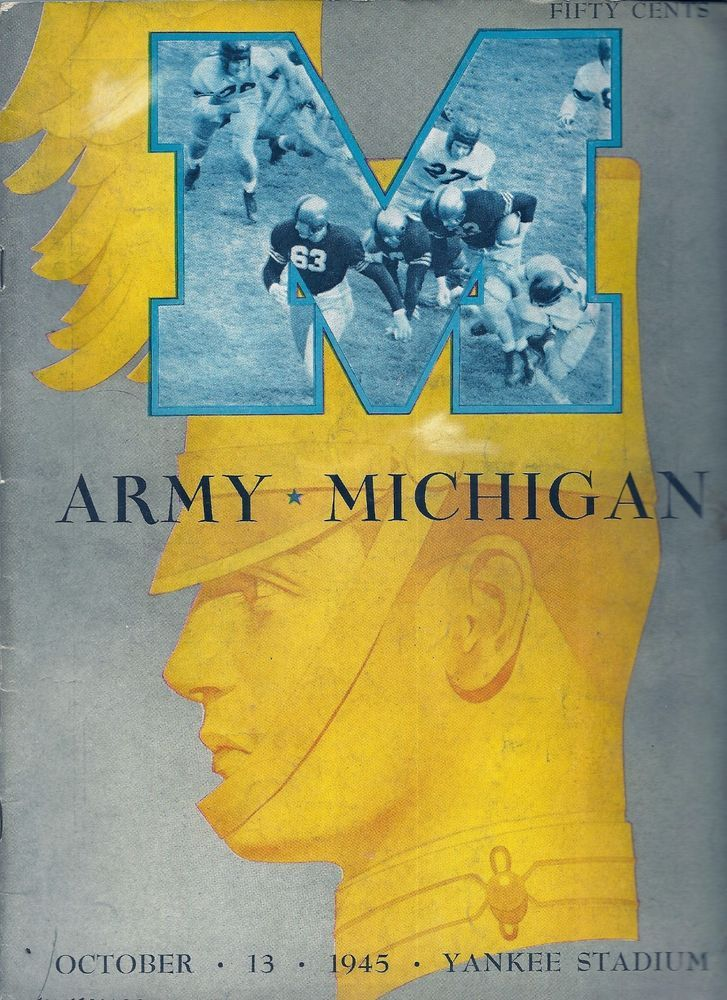 1945 ARMY vs. MICHIGAN FOOTBALL PROGRAM at Yankee Stadium #ARMYvsMICHIGAN