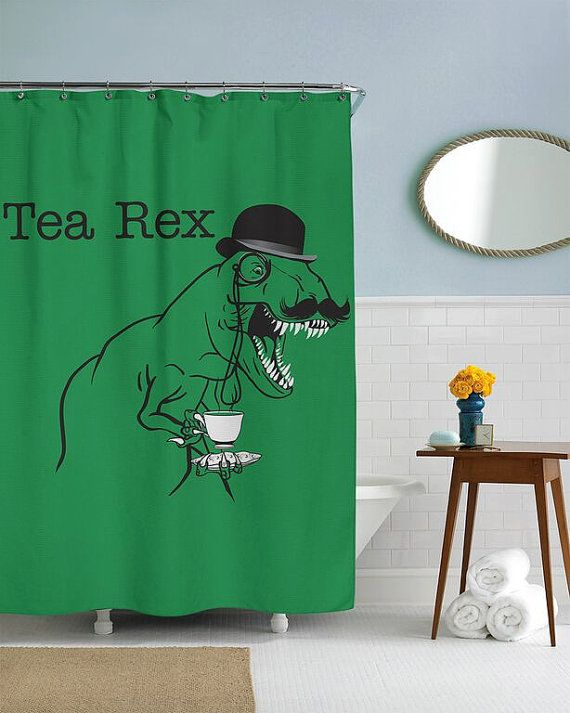 Tea Rex Dinosaur Shower Curtain in this house par CrazyDogTshirts