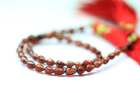 Red Garnet AAA Grade Hand Cut Micro Faceted Tear Drop Beads – Jewels Exports