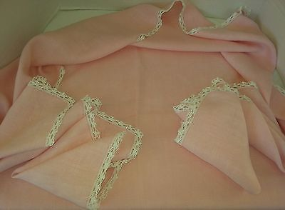 Vtg Irish Linen Subdued Shabby Pink Tablecloth Tadded Trim 4 Napkin