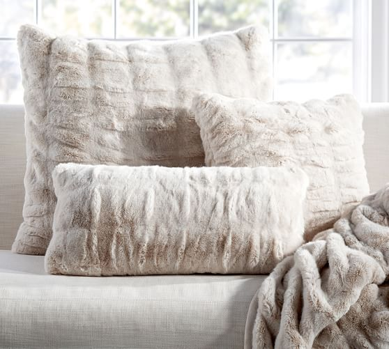 ruched faux fur pillow cover ivory pottery barn for the new couches